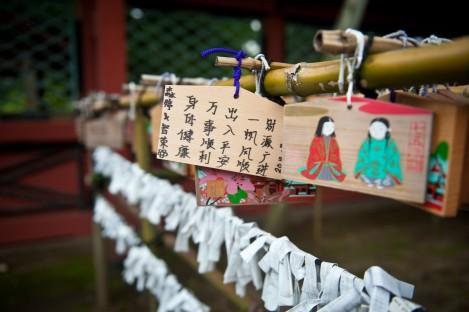 根津神社-绘马挂上祈愿竹